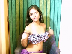 Indian Teen Brunette Divya Touches Her Alluring  With A Toy